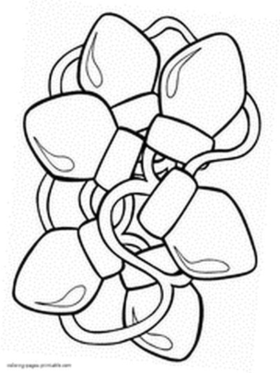 christmas bulb coloring page - christmas light coloring page part 7