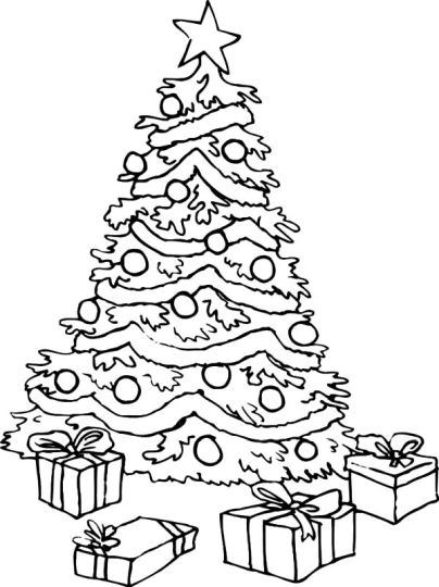 Christmas Tree With Presents Coloring Page 1