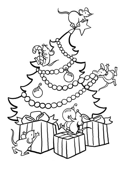 Christmas Tree With Presents Coloring Page 14