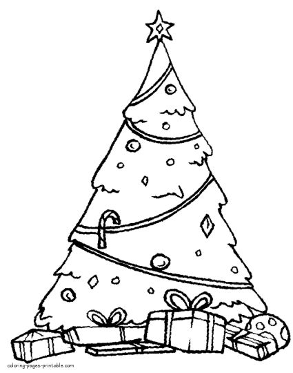 Christmas Tree With Presents Coloring Page 18