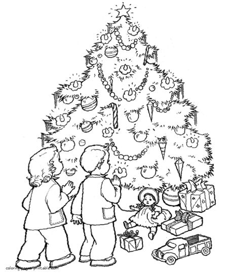 Christmas Tree With Presents Coloring Page 19