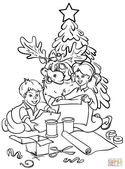 Christmas Tree With Presents Coloring Page 2