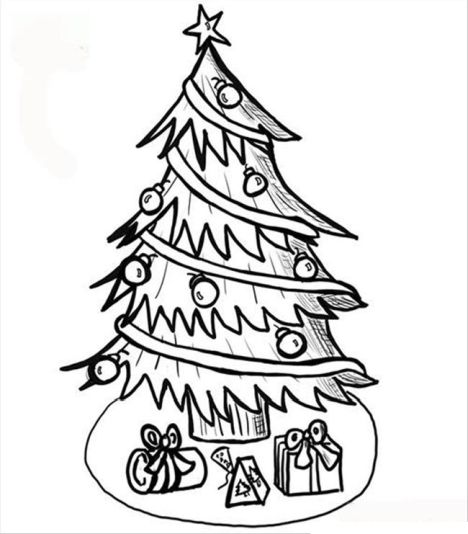Christmas Tree With Presents Coloring Page Part 2