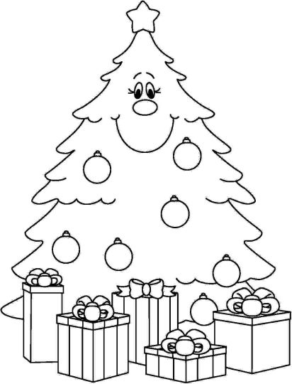 Christmas Tree With Presents Coloring Page Part 3