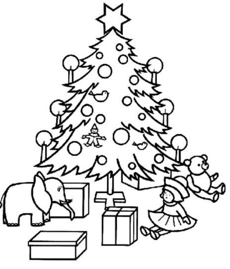 Christmas Tree With Presents Coloring Page 22