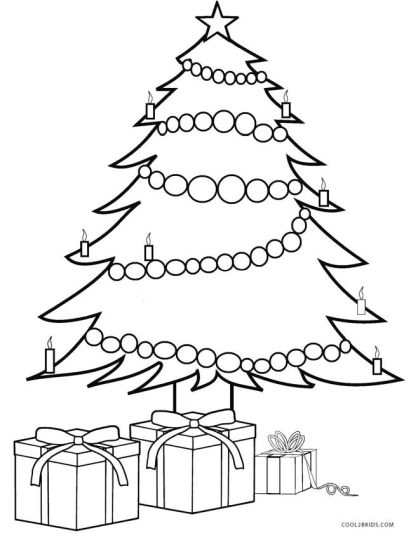 Christmas Tree With Presents Coloring Page 24