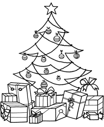 Christmas Tree With Presents Coloring Page 25