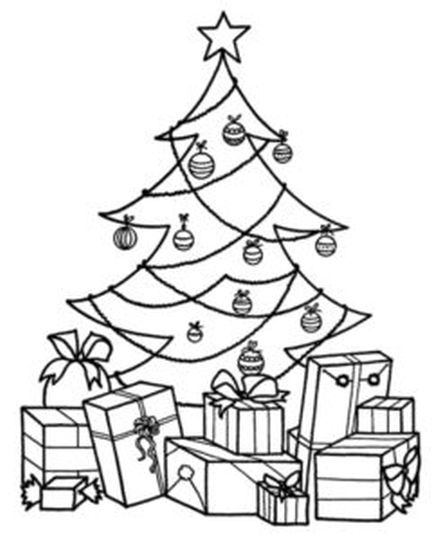 Christmas Tree With Presents Coloring Page 27