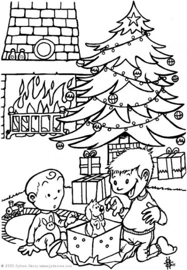 Christmas Tree With Presents Coloring Page 3