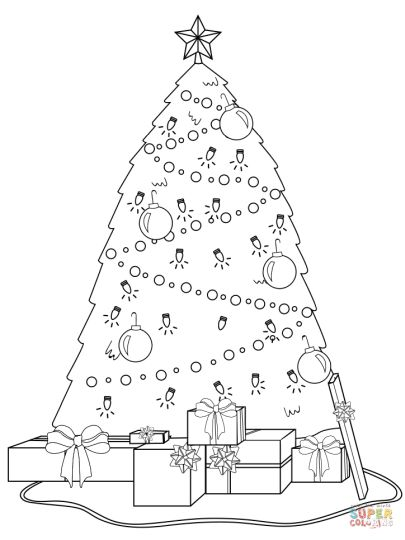 Christmas Tree With Presents Coloring Page 30