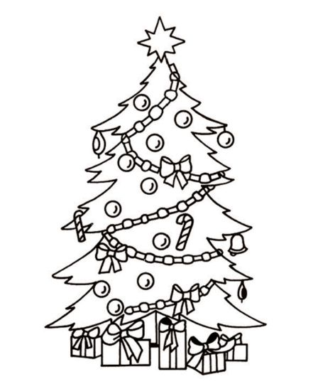 Christmas Tree With Presents Coloring Page 34