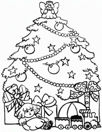 Christmas Tree With Presents Coloring Page 37