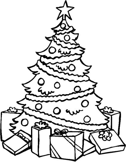 Christmas Tree With Presents Coloring Page 4
