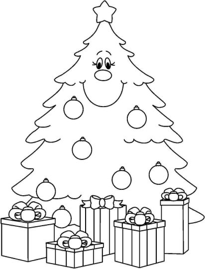 Christmas Tree With Presents Coloring Page 40