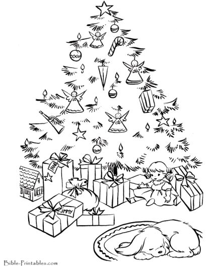 Christmas Tree With Presents Coloring Page 41