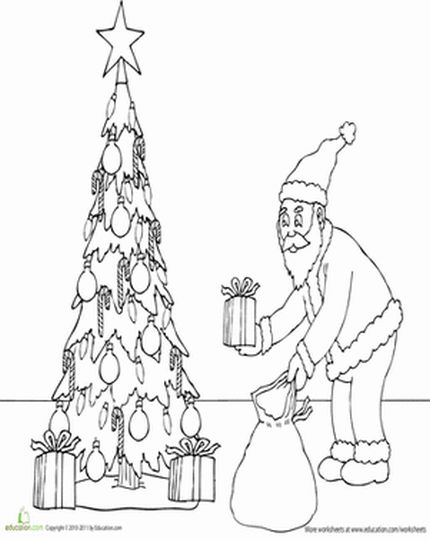 Christmas Tree With Presents Coloring Page 42