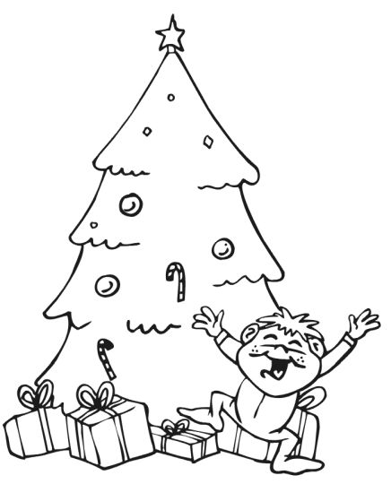 Christmas Tree With Presents Coloring Page Part 5