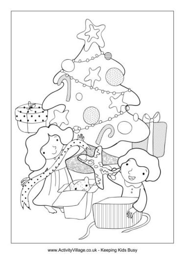 Christmas Tree With Presents Coloring Page 5