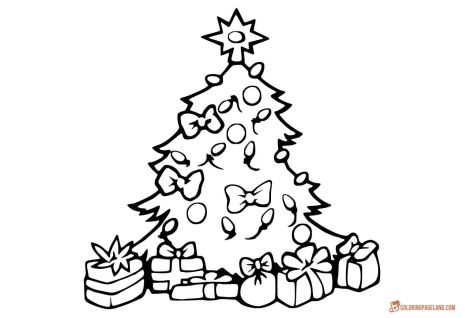 Christmas Tree With Presents Coloring Page 52