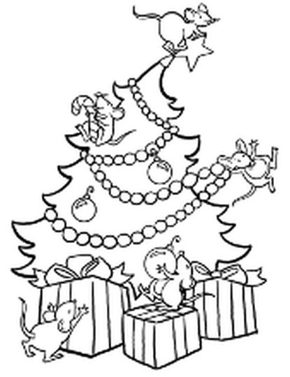 Christmas Tree With Presents Coloring Page 6