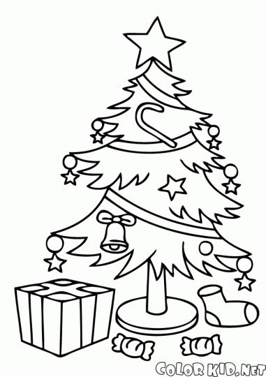 Christmas Tree With Presents Coloring Page Part 7