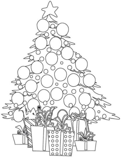Christmas Tree With Presents Coloring Page 67