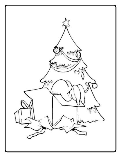 Christmas Tree With Presents Coloring Page 7