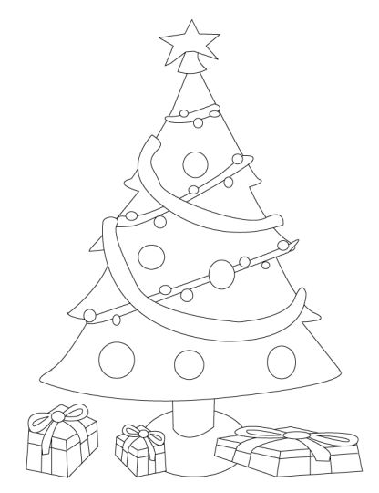 Christmas Tree With Presents Coloring Page 8