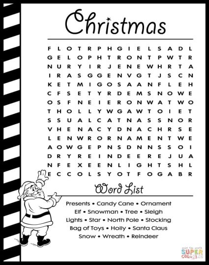 Christmas wordsearch for kids 34
