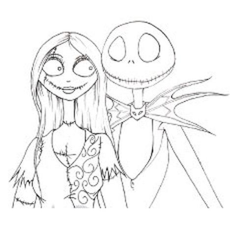 Nightmare before Christmas Jack and Sally coloring pages 1
