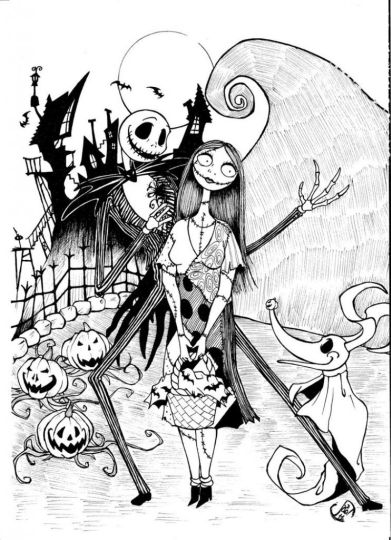 Nightmare before Christmas Jack and Sally coloring pages 10
