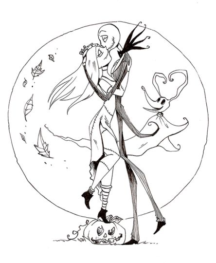 Nightmare before Christmas Jack and Sally coloring pages 11