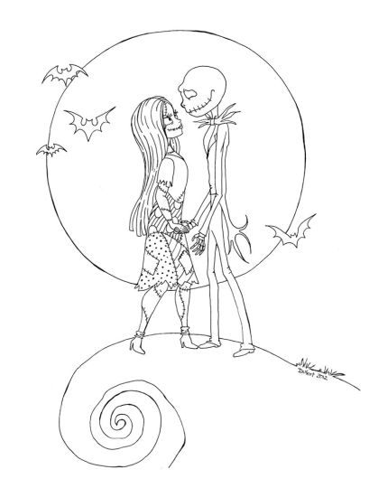 Nightmare before Christmas Jack and Sally coloring pages 12