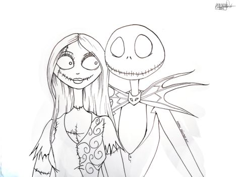 Nightmare before Christmas Jack and Sally coloring pages 13