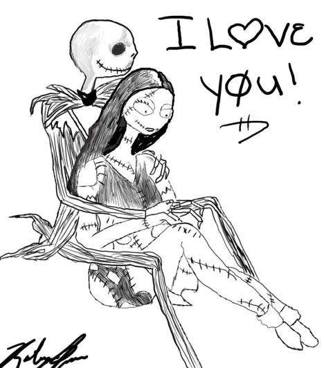 Nightmare before Christmas Jack and Sally coloring pages 14