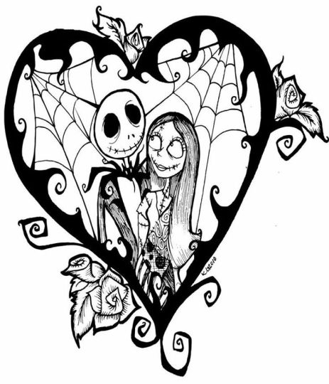 Nightmare before Christmas Jack and Sally coloring pages 16