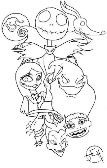 Nightmare before Christmas Jack and Sally coloring pages 17