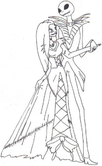 Nightmare before Christmas Jack and Sally coloring pages 21