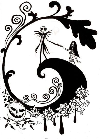 Nightmare before Christmas Jack and Sally coloring pages 3