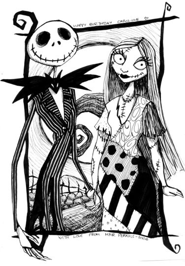 Nightmare before Christmas Jack and Sally coloring pages 4