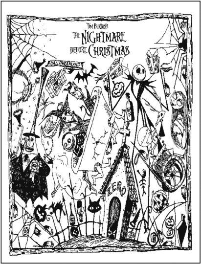 Nightmare before Christmas Jack and Sally coloring pages 7