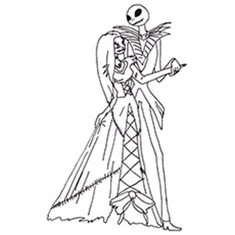 Nightmare before Christmas Jack and Sally coloring pages 8