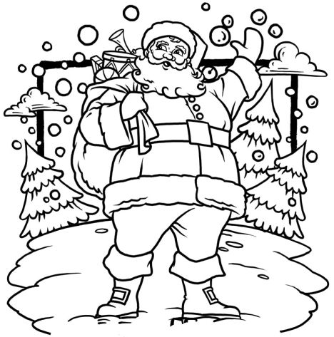 Santa Claus Colouring Pages 10