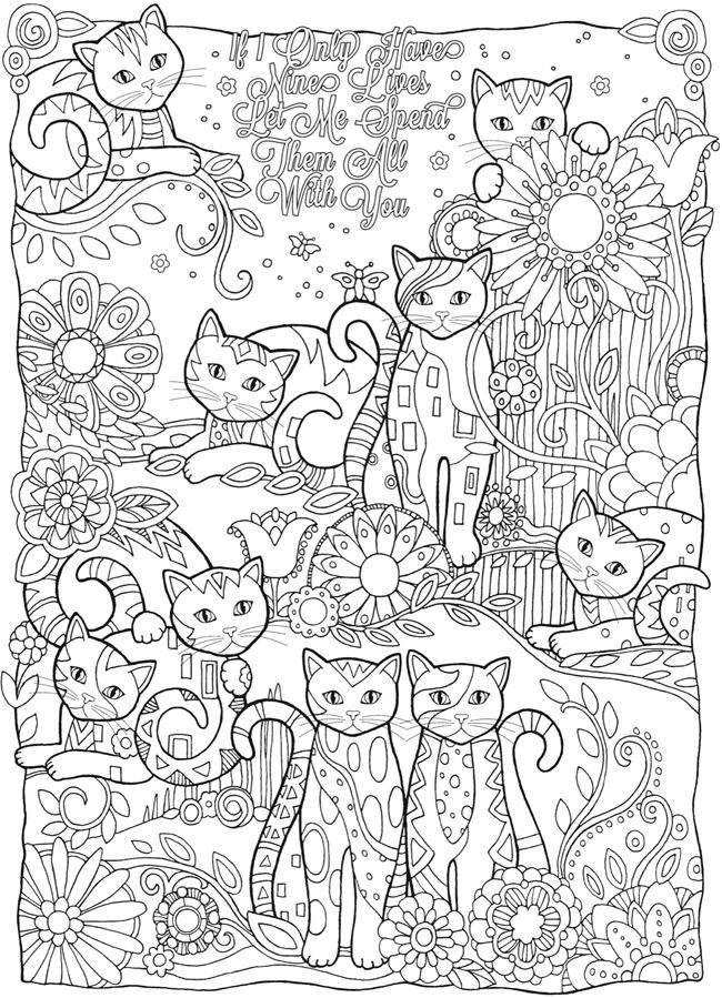 Cat Coloring Pages For Adults 11