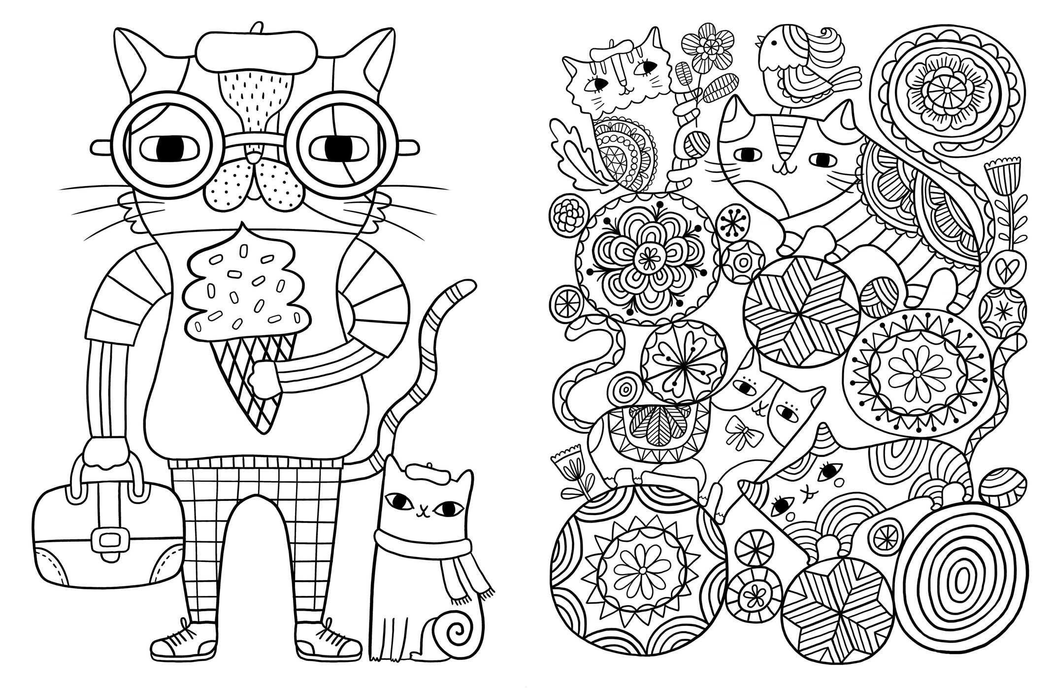 Cat Coloring Pages For Adults 13