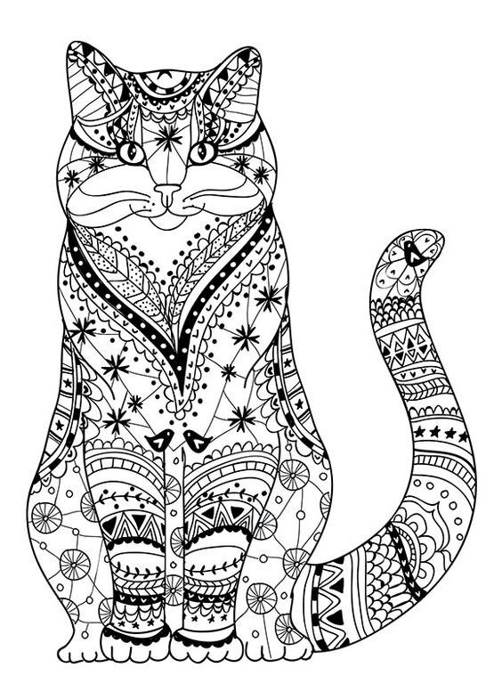 Cat Coloring Pages For Adults 16