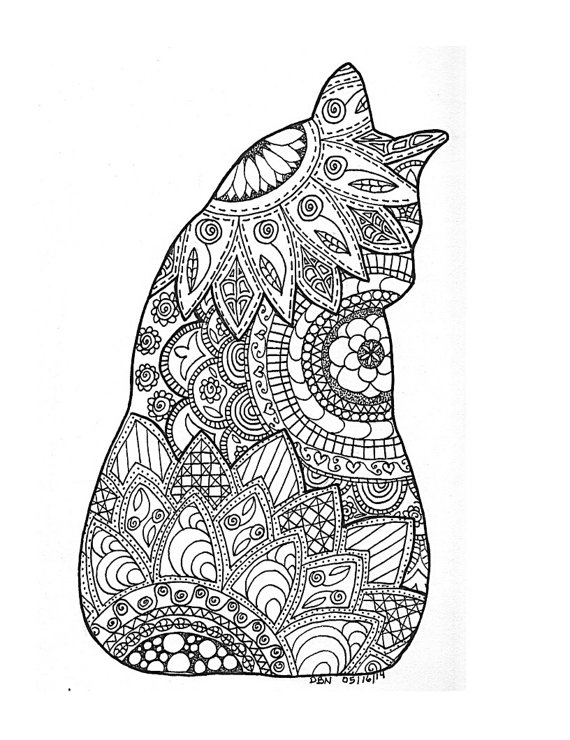 Cat Coloring Pages For Adults 17