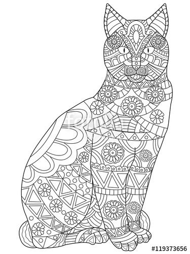 Cat Coloring Pages For Adults 20