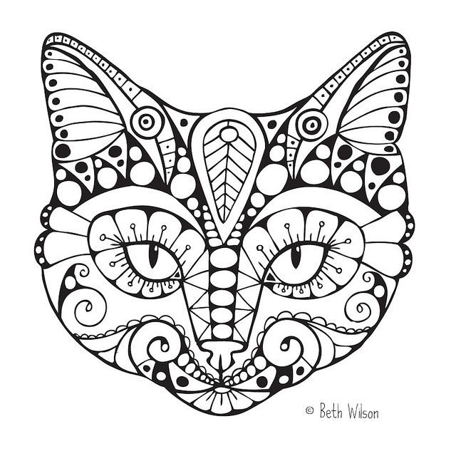 Cat Coloring Pages For Adults 43