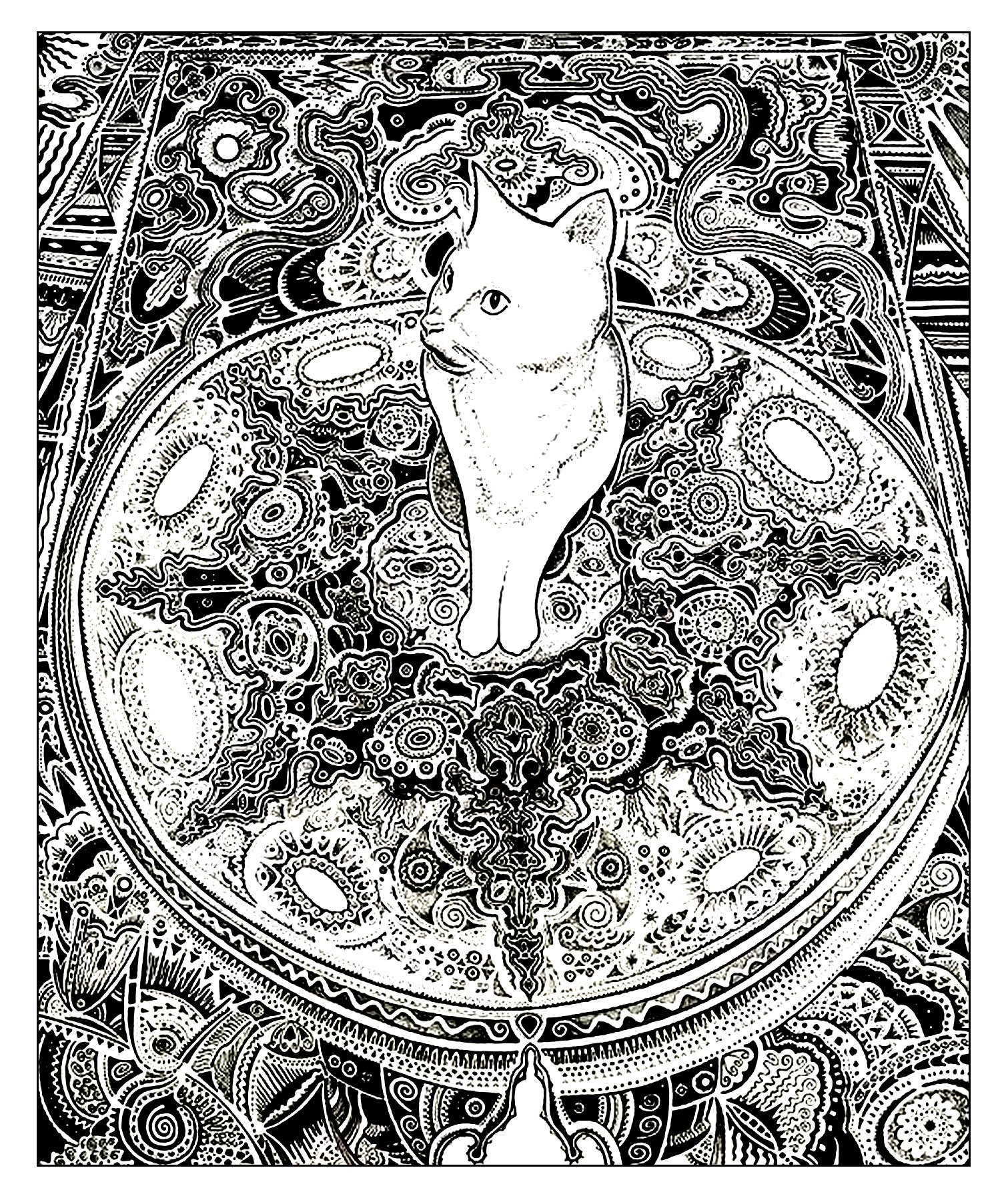 Cat Coloring Pages For Adults 47